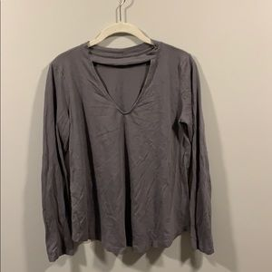 Gray cut out long sleeved shirt
